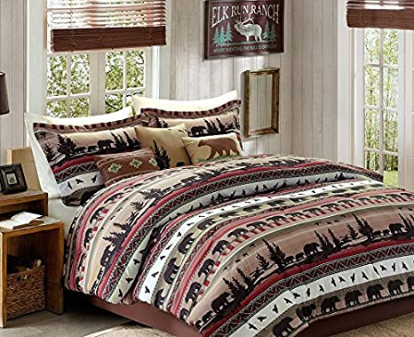 Bears, Mountains, Cabin, Lodge CAL King Comforter Set (7 Piece Bed In A Bag)