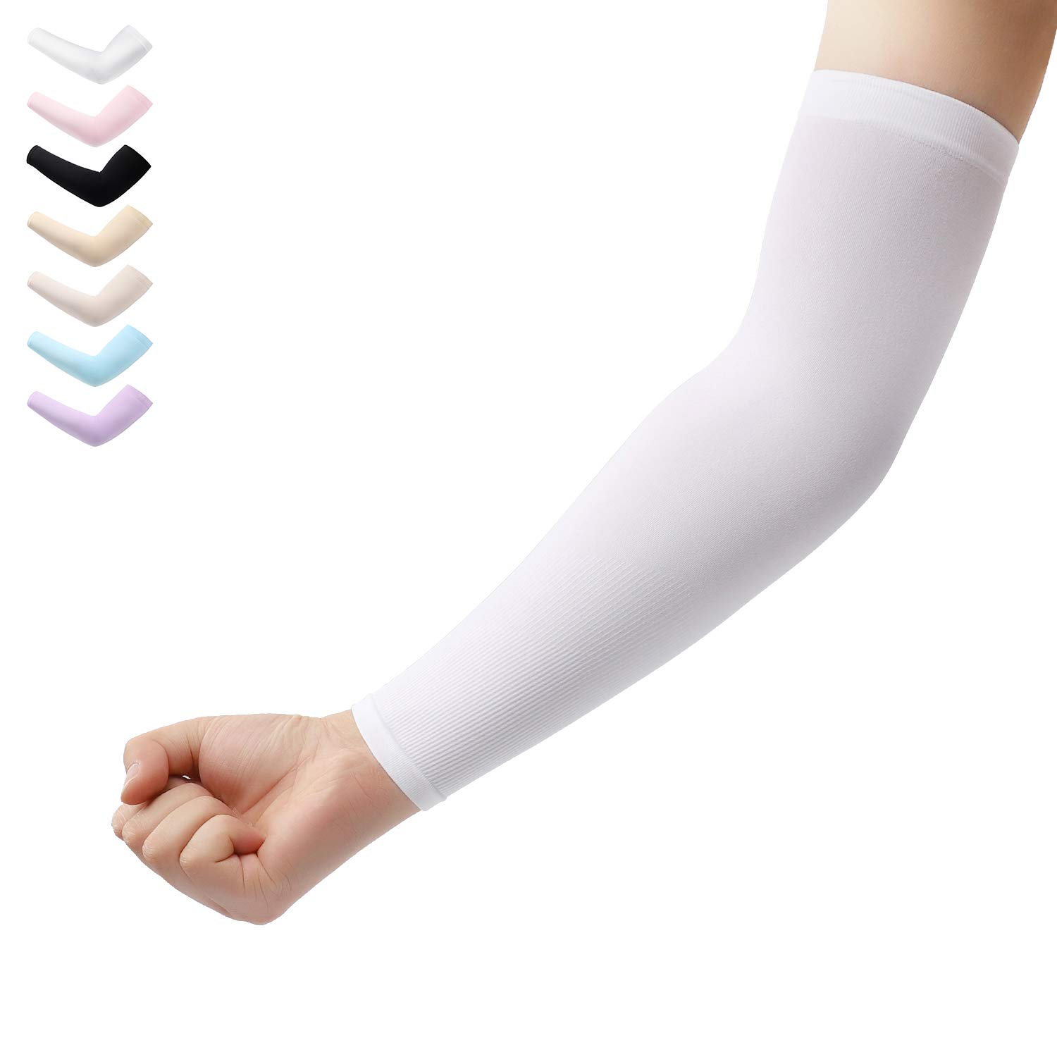 Arm Sleeves 1 Pair Cooling UV Protection, Compression Sleeves to Cover Arms Women Men, Sunblock Arm Cover Durable Stretchy for Outdoor Sports (White)