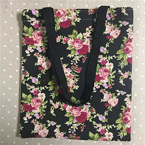 Yile Thin canvas Eco shopping Tote borsa a tracolla stampa rose fiore base nera L302