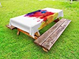 Lunarable Abstract Outdoor Tablecloth, Vibrant Stains of Watercolor Paint Splatters Brushstrokes Dripping Liquid Art, Decorative Washable Picnic Table Cloth, 58 X 84 Inches, Red Yellow Blue