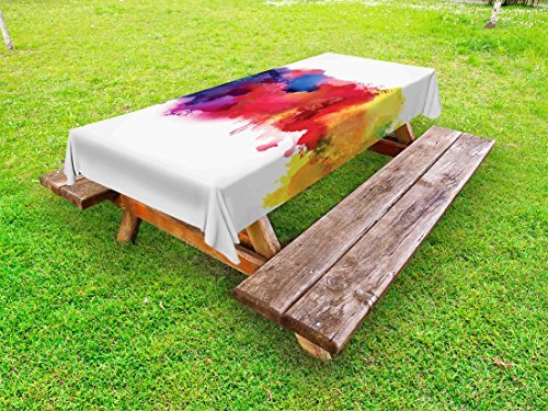 Lunarable Abstract Outdoor Tablecloth, Vibrant Stains of Watercolor Paint Splatters Brushstrokes Dripping Liquid Art, Decorative Washable Picnic Table Cloth, 58 X 84 Inches, Red Yellow Blue by Lunarable