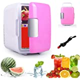 Mini Fridge For Car, Womdee Electric Car Refrigerator With Cooler And Warmer, 4 Liter Capacity With 12V Car Charger, Portable Ice Box For Cars, Road Trips, Camping, RVs, Pink