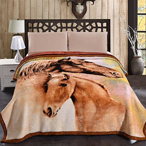 "Price comparison product image Jml 10 Pounds Heavy Plush Soft Blankets for Winter, Korean Style Mink Velvet Fleece Blanket – 2 Ply A&B Printed Raschel Bed Blanket King Size 85"" x 93"" (Horse)"
