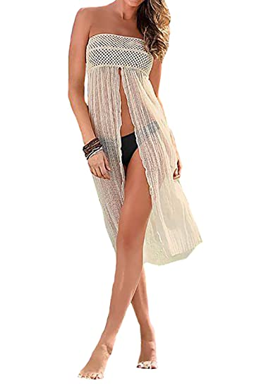 70487811cbf61 Amazon.com: Bestyou Women's Swimsuit Covers Lace Bikini Cover up for Beach  Fishnet Crochet Skirt (Beige): Home & Kitchen