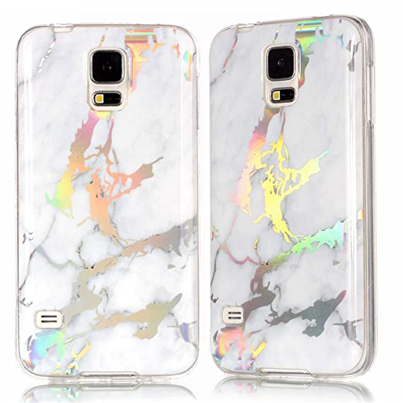IVY Galaxy S5 Marble Case with Colour Electroplating and TPU Cover Protective Shell for Samsung S5 - White