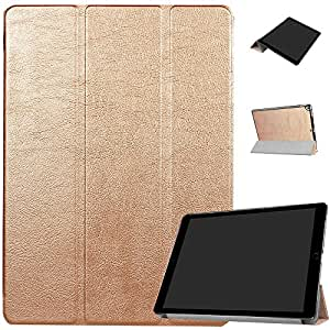 For Apple iPad Pro 12.9 Case Tablet Protective Cover Fold Stand Simple Elegant Premium PU Leather Shell Shockproof Sturdy Durable Cases Rgold