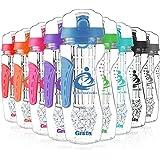 Grsta Fruit Infuser Water Bottle, Large 1 Litre + Freezer Ball & Infusion Rod + Portable Sleeves, BPA Free Tritan Plastic Detox Bottle for Sport, Gym, Yoga, Leak Proof & Flip Top Lid(Blue)