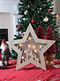 """Wooden Star Shadow Box   Starry Night LED Christmas Hanging Decoration  Christmas Decoration Home, Living Room, Office or Classroom   Festive Holiday Décor 16"""" x 16""""   Battery Powered"""
