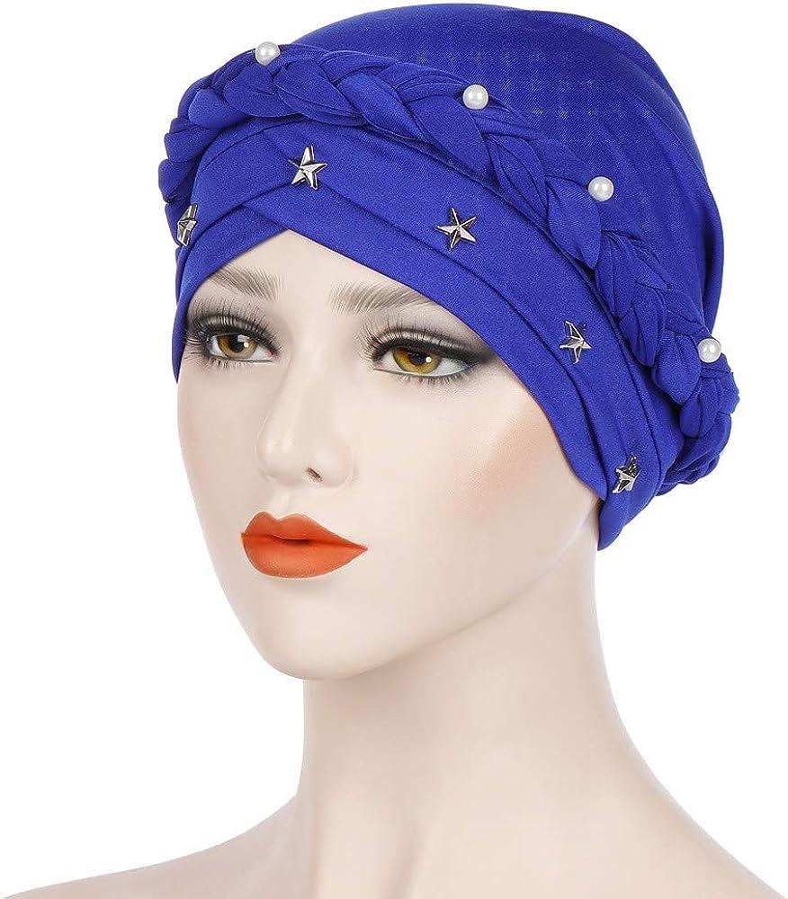 Women Ladies Turban  Hat Solid Caps Muslim Pearl Decor Headwraps Hat PA