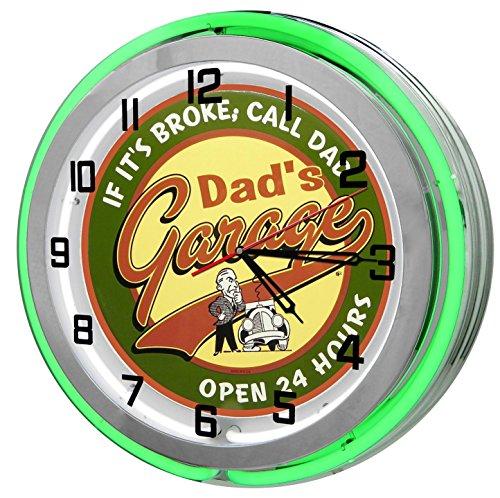 Dad s Garage 18 Green Double Neon Garage Clock from Redeye Laserworks