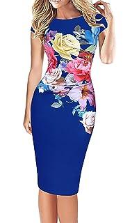 Vestidos Verano Mujer Elegante Tallas Grandes Impresión Floral Slim Fit Vestido Ajustados La Rodilla Tubo Casual