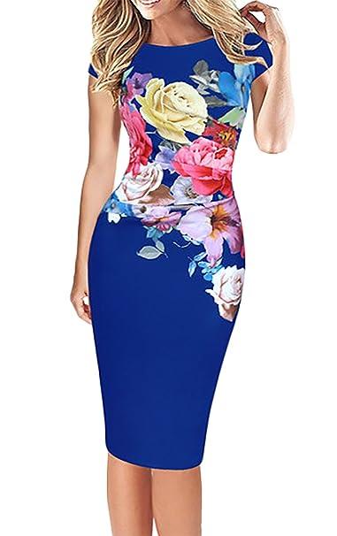 01d8a368b781 Vestidos Verano Mujer Elegante Tallas Grandes Impresión Floral Slim Fit  Vestido Ajustados La Rodilla Tubo Casual Manga Corta Cuello Redondo Fiesta  ...