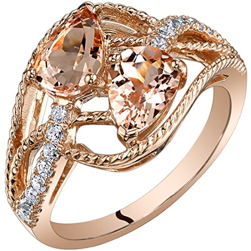 - 14K Rose Gold Two Stone Morganite Ring Pear Shape 1.50 Carats size 6