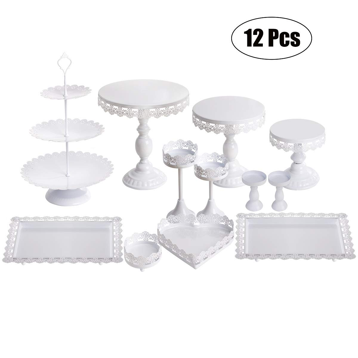Set of 12 Pieces White Cake Stand and Pastry Trays Metal Cupcake Holder Fruits Dessert Display Plate for Baby Shower Wedding Birthday Party Celebration