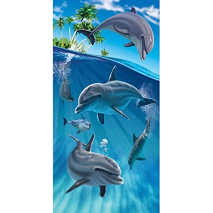 Delfines natación de la isla terciopelo toalla de playa