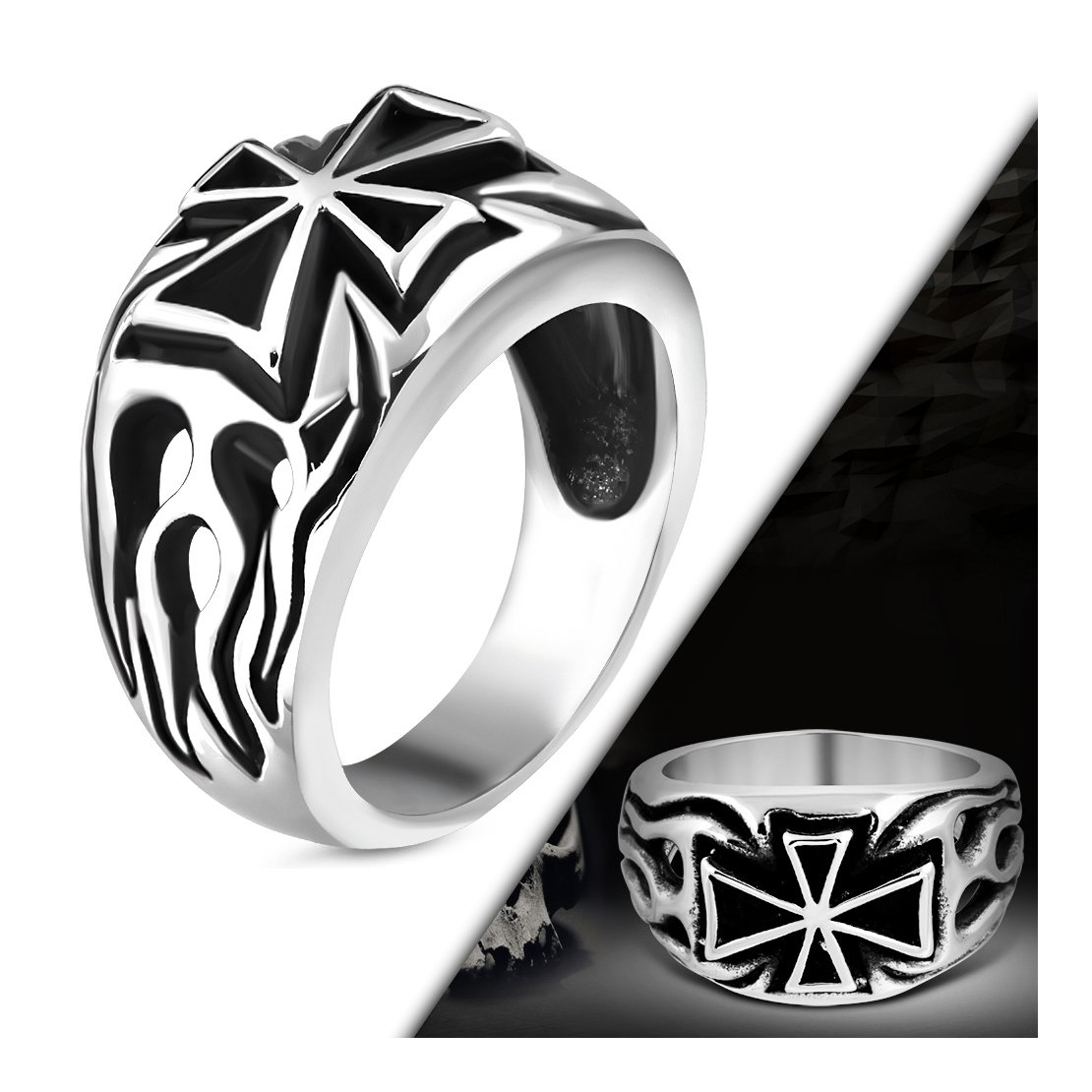 Stainless Steel 2 Color Fire// Flame Pattee Cross Biker Ring