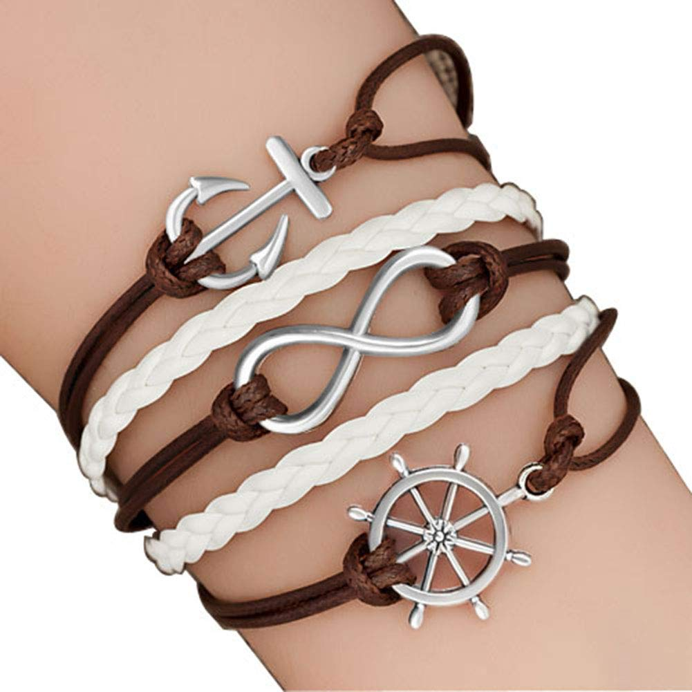 Moonlight Collections Woven Leather Anchor Bracelet Nautical Rope Wrap Multi-Strand Infinity Charms and Bangles