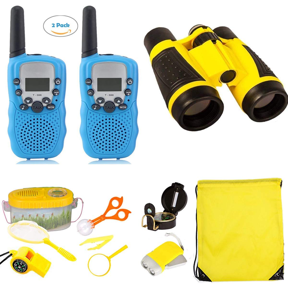 Woltechz Explorer Kit for Kids 2packs Walkie Talkies with 3KM Long Rang/ Binoculars for Kids/ Flashlight/ Compass/ Bug Catcher Adventure Kit for Kids Gift for Camping, Hiking, STEM Toys by Woltechz