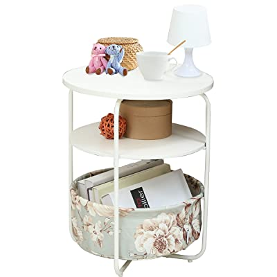 Round Side Table With Fabric Storage Basket