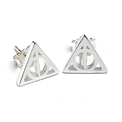 Harry Potter Sterling Silver Deathly Hallows Stud Earrings Amazon