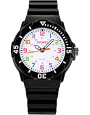 Boys Girls Wrist Watches,Analogue Quartz Sports Wristwatches with Rotatable Compass,50M Waterproof Silicone Strap,Best Gift Watches for Children Kids