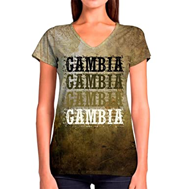 Gambia text V-Neck T-Shirt