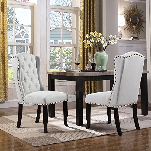 Iconic Home Nayman Dining Side Accent Wingback Chair Button Tufted Velvet Upholstered Goldtone Nailhead Trim Tapered Espresso Wood Legs, Modern Transitional, Grey, Set of 2