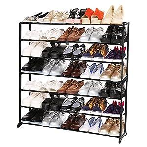 Flagup 7 Tier Shoe Rack 35 Pairs Shoe Storage Organizer Cabinet Tower 92 x 17 x 96cm, Black
