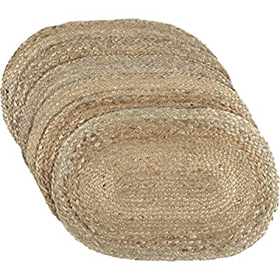 "VHC Brands Coastal Farmhouse Tabletop & Kitchen Jute Placemat Set of 6, 12"" x 18"", Natural Tan - Set includes 6 placemats Natural, unbleached jute fibers Braided: Machine braided, Machine stitched - placemats, kitchen-dining-room-table-linens, kitchen-dining-room - 61OY1LvSPxL. SS400  -"