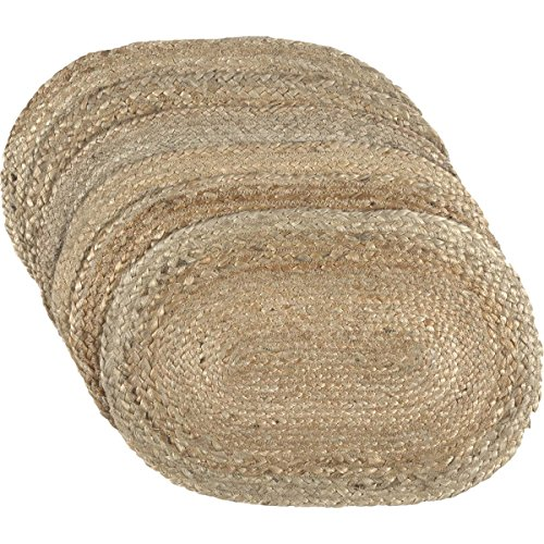 (VHC Brands Coastal Farmhouse Tabletop & Kitchen - Natural Jute Tan Placemat Set of 6, 12