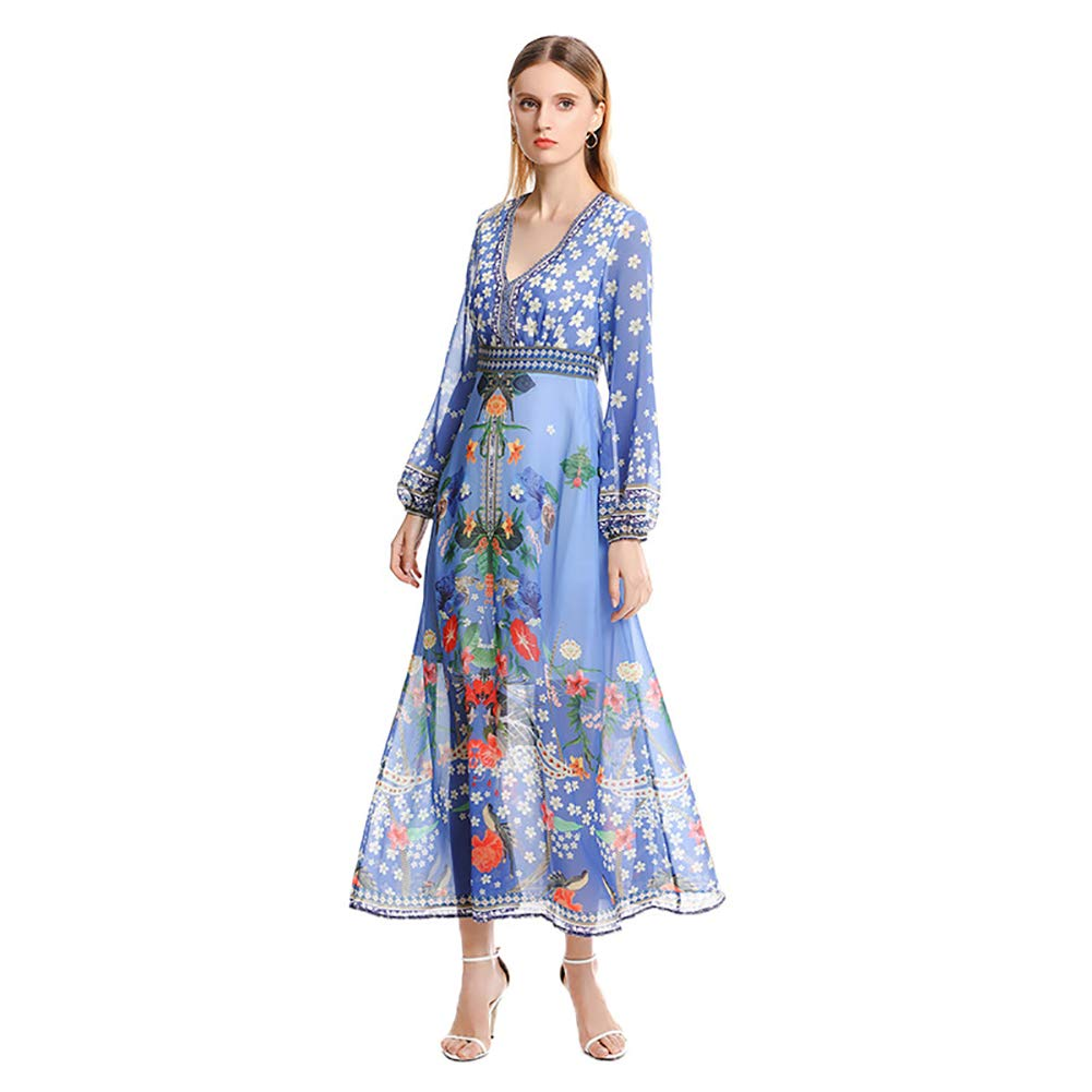 bluee Women's Spring Dress, Summer Temperament Beach Holiday Big VNeck high Waist Big Swing Skirt Lantern Sleeves Long Skirt
