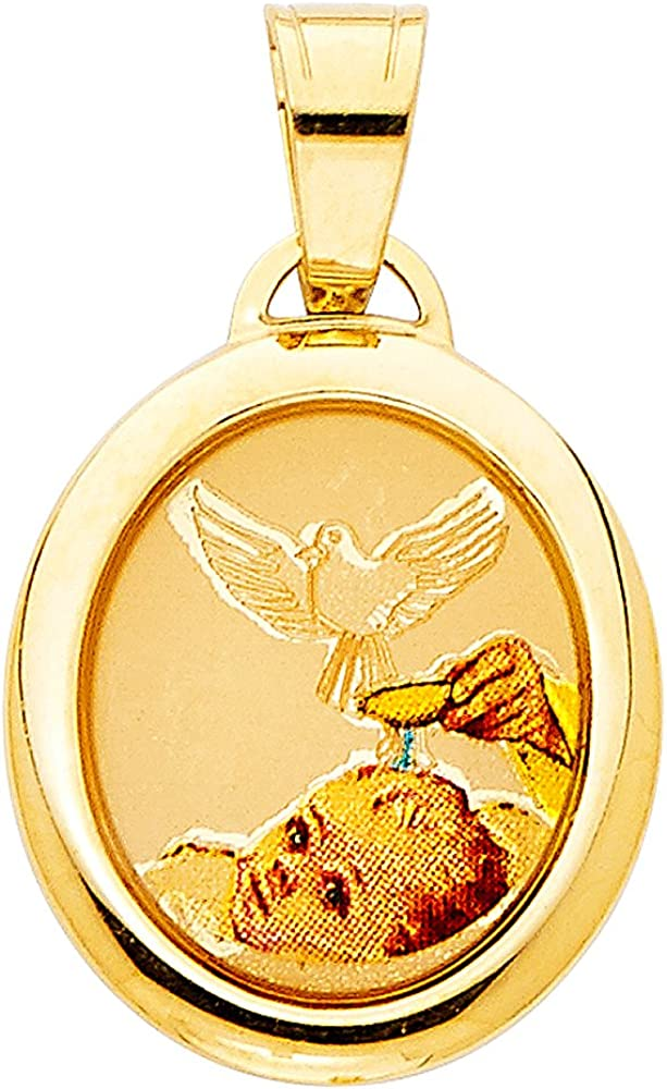 14K Yellow Gold Baptism Enamel Picture Charm Pendant with 2mm Figaro 3+1 Chain Necklace