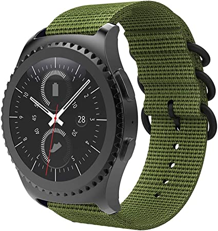 Wollpo Compatible Gear S3 Classic/Frontier Band, Samsung Galaxy 46mm Watch Band, 22mm Nylon Loop Strap Replacement Band for Gear S3 Classic/Frontier ...