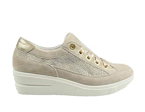 Zapatillas IGI&CO 3151333 Zapatos tacón de cuña Mujer Cuero Beige Fabricado en Italia