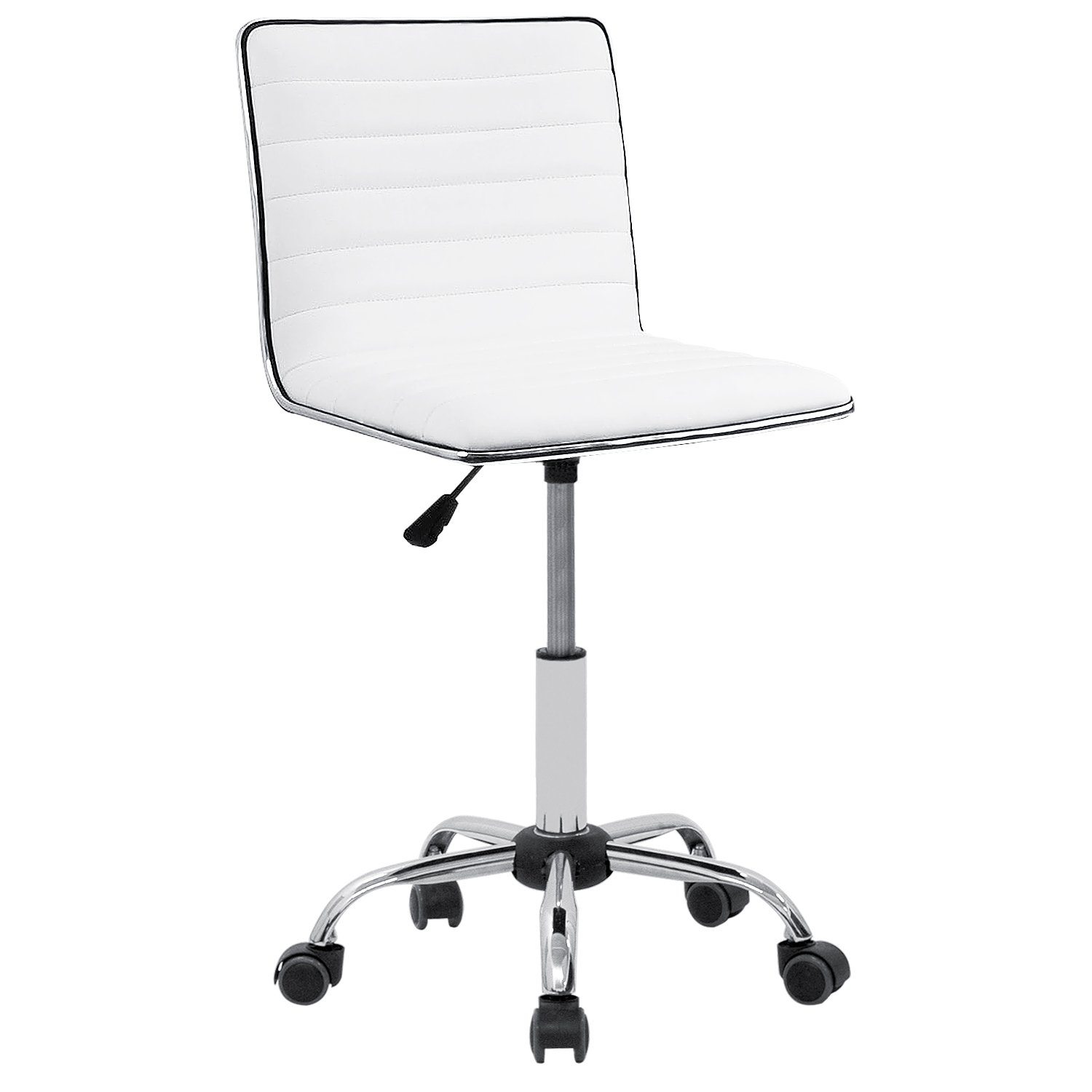 Furmax Mid Back Task Chair,Low Back Leather Swivel Office Desk Chair,Computer Chair with Armless Ribbed Soft Upholstery (White)