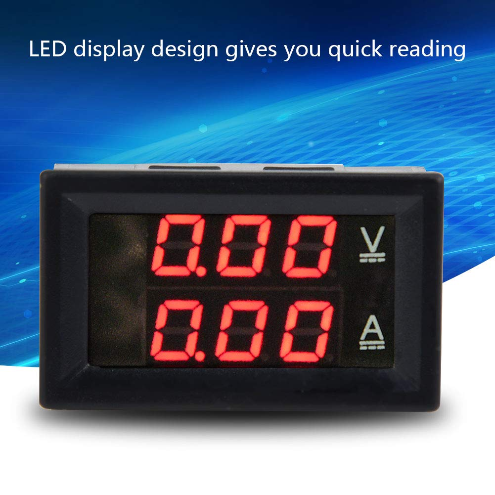 10A Digital Voltmeter Ammeter DC 0-100V 50A//10A Dual LED Panel 3 Digit Voltmeter Ammeter Gauge Meter for Home Appliances Factory Industry