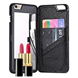For iPhone 6 6s Case, FLOVEME [Hidden Mirror] [Slim Fit] Premium Wallet Cash ID Credit Card Slots Holder with Stand Feature Hard Back Cover for Apple iPhone 6 and iPhone 6s 4.7 inch - Black