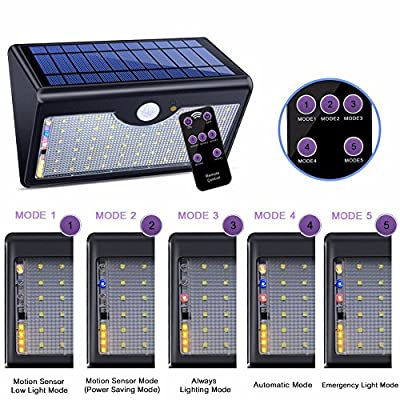 Motion Sensor Light Outdoor, 60 Led Solar, 5 Modes Remote Control,1300LM Waterproof Wide Angle, Wireless Super Bright Security Wall Lights for Driveway, Wall, Patio, Yard, Garden?Black?