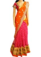 Isha Enterprise Women's Georgette Orange And Pink Multi Work With Sequence Work Designer Saree