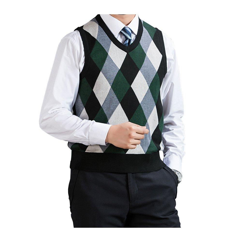 Fange Mens Argyle V Neck Sweater Vest Woolen Color Block Knit