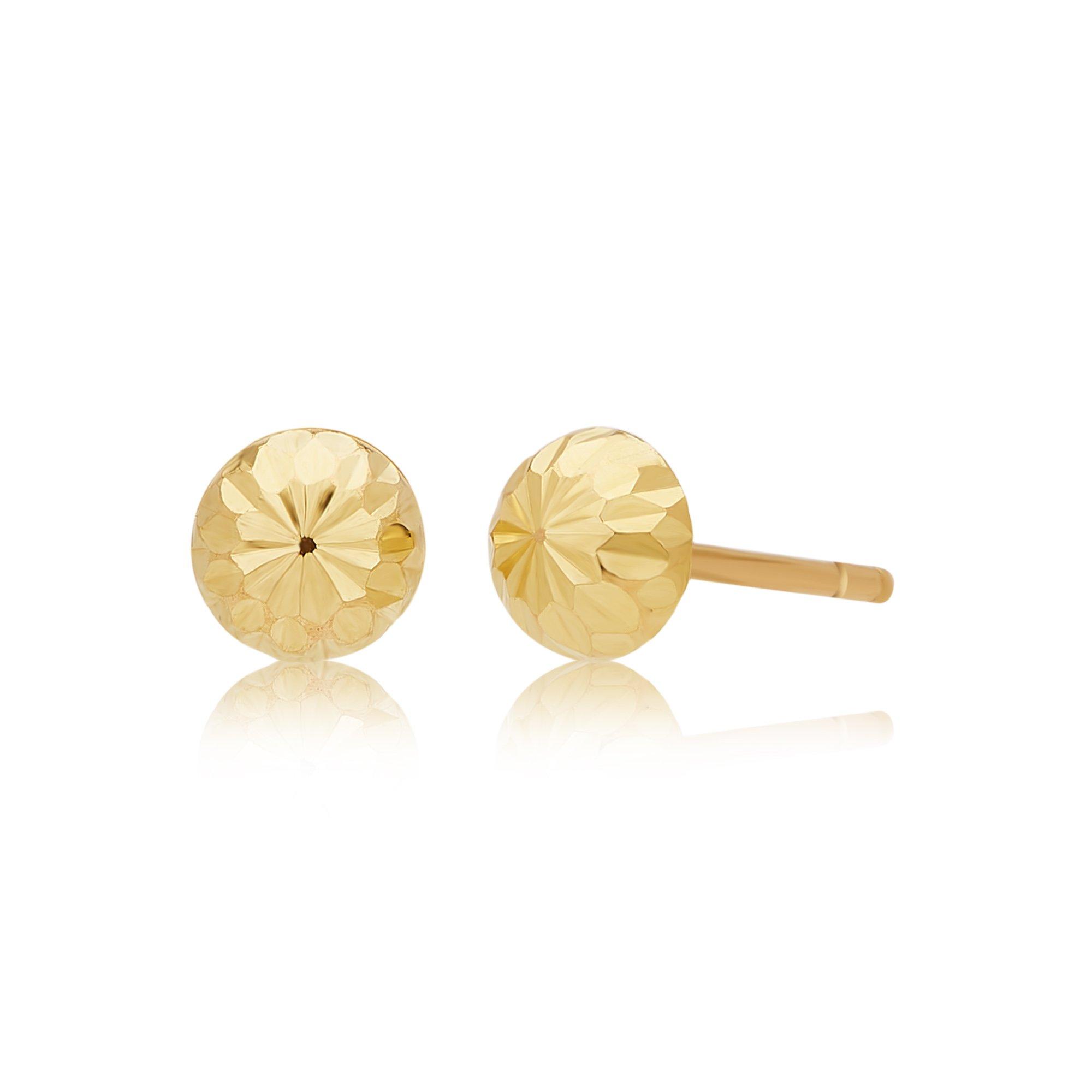 14k Yellow Gold 6 mm Half Diamond Cut Ball Stud Earring