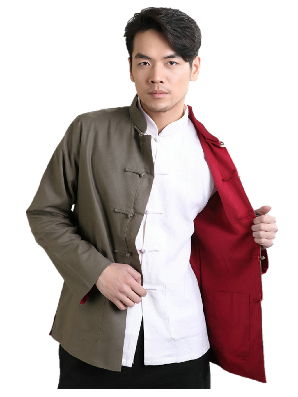 Cotton-flax Tang Suits Double-sided Wear Retro Jackets mens shirts Business Jackets Full Dress by Double-sided Wear Tang Suit