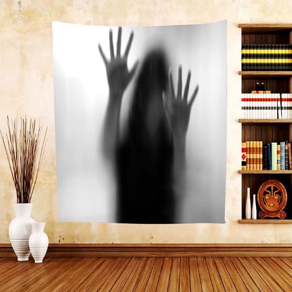 Gzhihine Custom tapestry Horror House Decor Tapestry Silhouette of Woman behind the Veil Scared to Death Obscured Paranormal Photo for Bedroom Living Room Dorm 80WX60L Gray