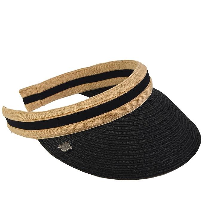 Straw Sun Visors - UV Beach Golf Caps Hats for Men Women (Black) at ... 49a4b4af42fe