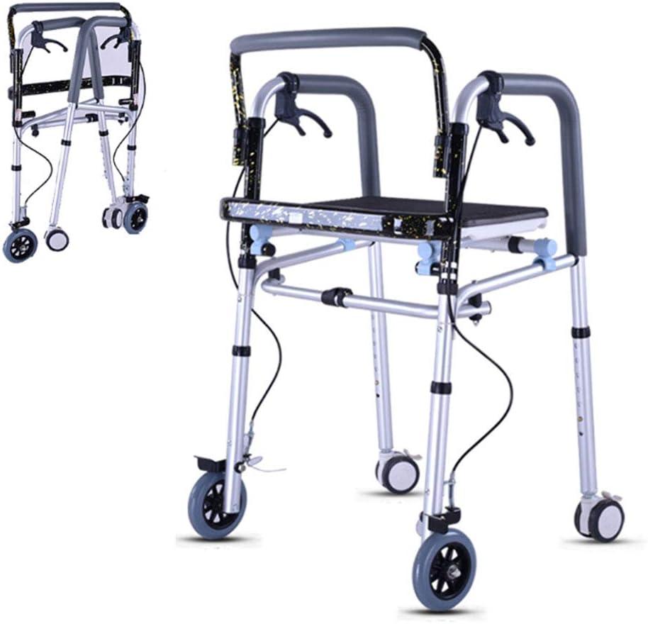 SXFYGYQ Marco para Caminar Andador Plegable Altura Banda Ajustable Engrosado Asiento Freno con Bloqueo Adecuado para Personas con Movilidad Reducida