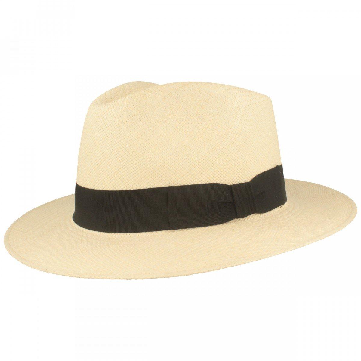 ORIGINAL Panama-Hut | Stroh-Hut | Sommer-Hut aus Ecuador – Traditionell Handgeflochten in Brisa 4 Flechtung, Bruchschutz -Weiß Bruchschutz -Weiß
