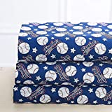Luxury Linen Collection Printed Sheets with Pillowcase Baseball Blue Kids/Boys/Teens (Twin)