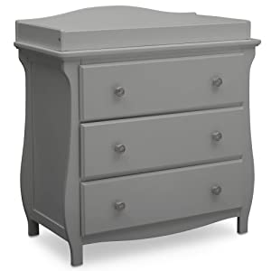 Delta Children Lancaster 3 Drawer Dresser with Changing Top, Grey