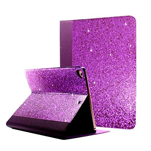 iPad 9.7 2018 2017/iPad Air 2/iPad Air Case, ClarksZone Sequins Glitter Case 9.7inch [Flip Stand Function] [Auto Sleep/Wake] Universal Case for Apple iPad Air/Air2/Pro 9.7 2017 2018(Purple) by ClarksZone