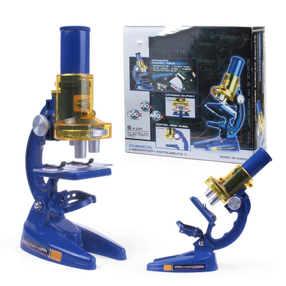 Wenzhihua Microscopio HD Microscopio per Bambini 1200x Set Esperimento scientifico Ausili per l'insegnamento Scienza Giocattoli Microscopio didattico per Bambini